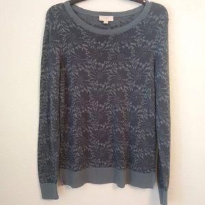 Loft Outlet Sweater M Floral Gray Blue 100% Cotton